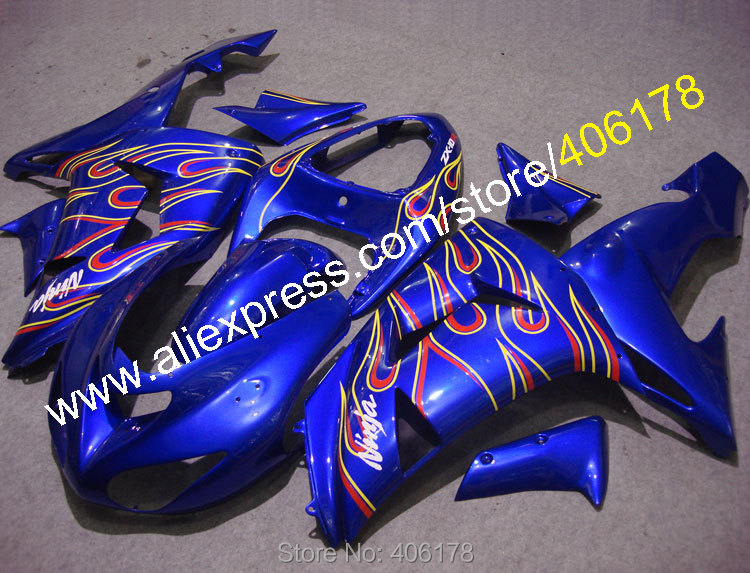 Hot Sales,For KAWASAKI NINJA ZX10R 10 R 06 07 Flame Blue ZX-10R ZX 10R 2006 2007 Motorcycle Fairing Kit (Injection molding)