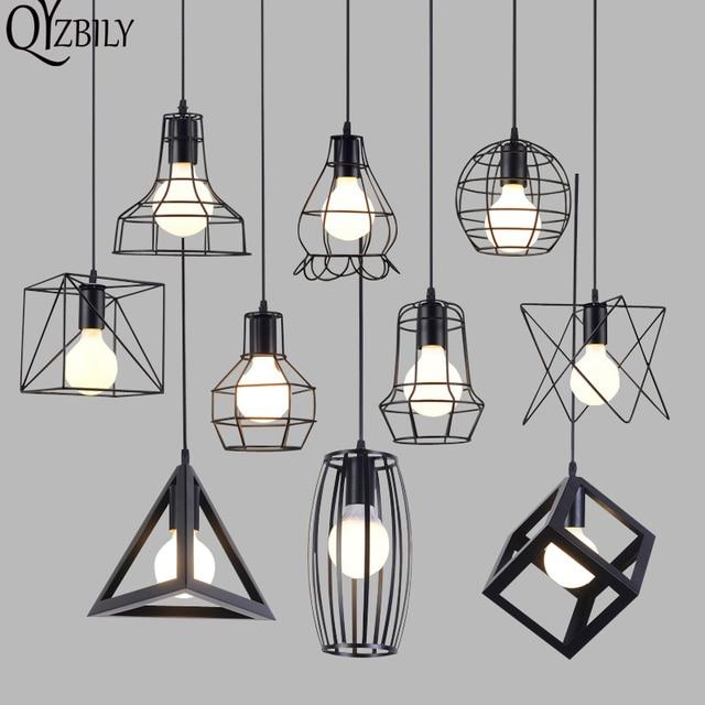 QYZBILY Vintage Pendant Lights LED Industrial Pendant Lamp Iron Cage Living Room