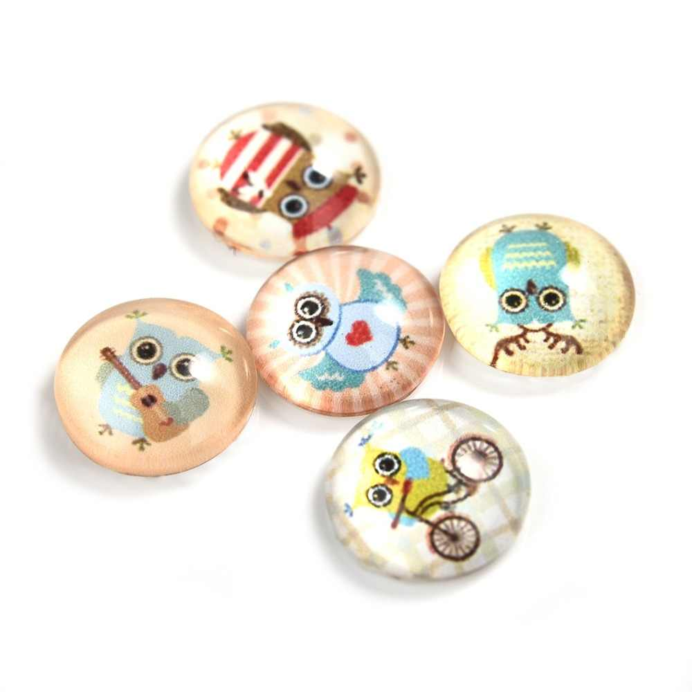 5Pcs/Lot Owl Pattern Round 12mm Glass Cabochons Dome Flat Back for Jewelry Making Handmade DIY Pendant Findings
