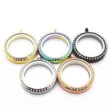 ФОТО mix 5pcs 30mm crystal stainless steel twist floating locket necklace round sparkles screw open glass memory locket