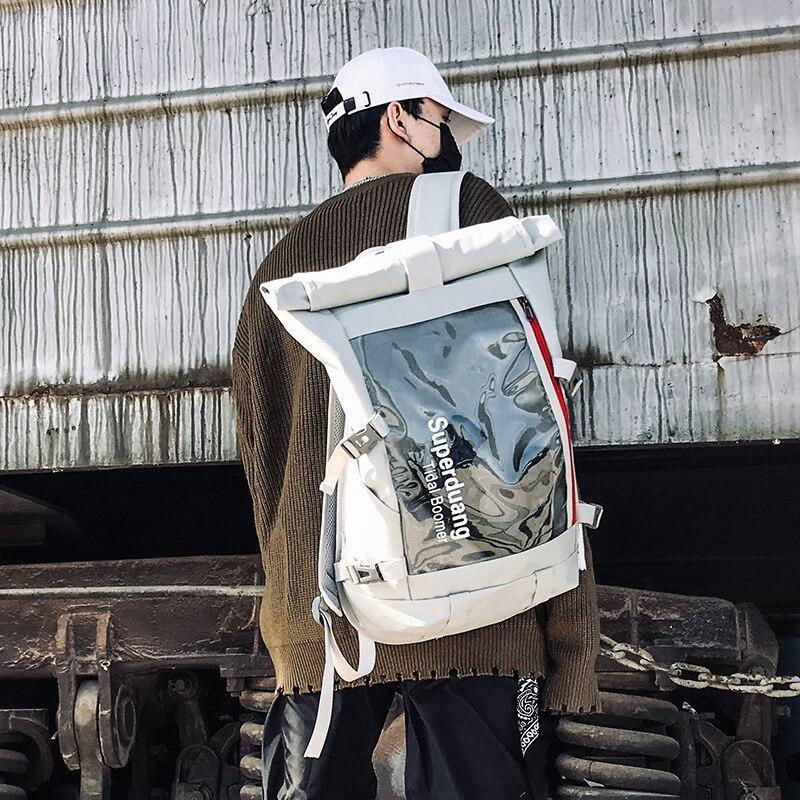 Harajuku Backpack Transparent Street Style Travel Bag Big Capacity Fashion Men's Backpack School Bag Male