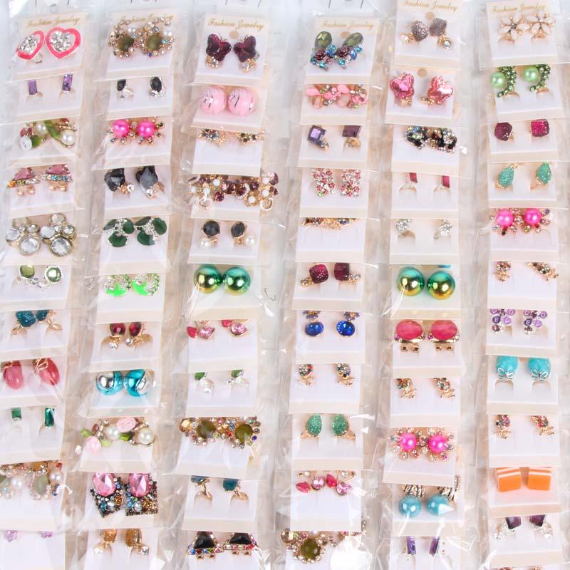 10 par/pacote brincos bonitos do parafuso prisioneiro jóias para mulheres presentes festa de casamento moda brincos de cristal (estilo mix)
