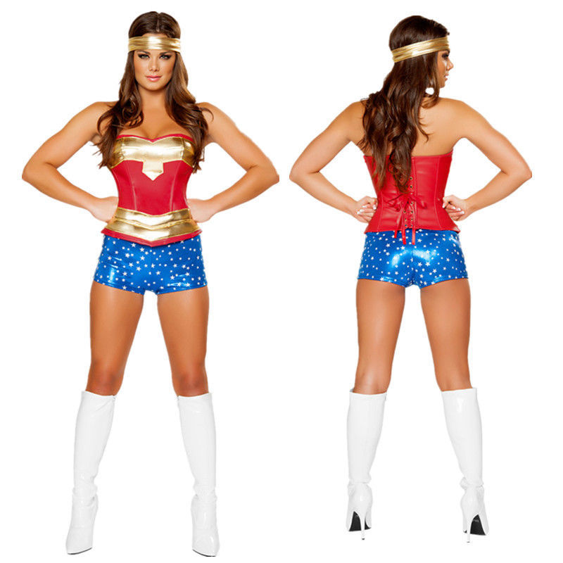 Adult Womens Superhero Supergril Costume Fancy Dress Outfit