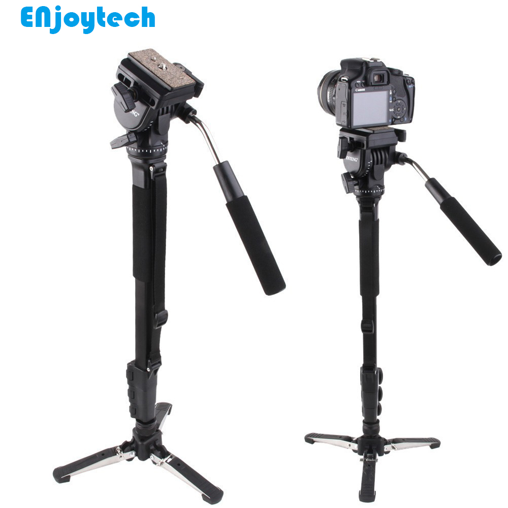 Professional Monopod With Hydraulic Pan-tilt Head Gimbal For Canon Nikon DSRL Cameras Unipod With Mini Tripod For Photography diat aluminum alloy tripod video monopod with fluid pan head 3 feet support unipod holder for canon sony nikon dslr
