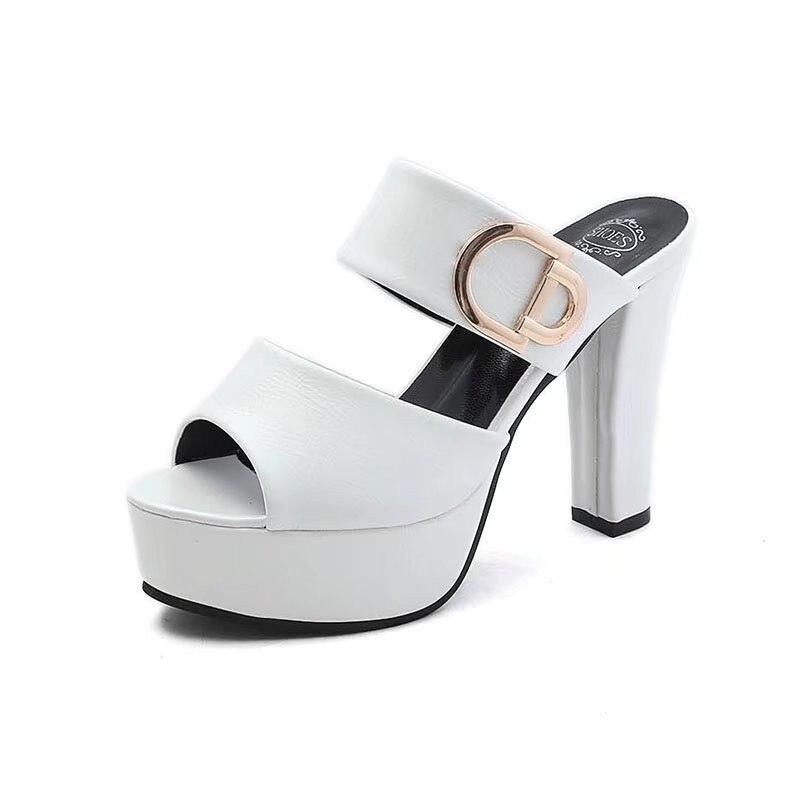 2d11f398 Cuero Mujeres blanco 2019 Verano Zapatillas Alto Plataforma Mujer Rayas  rojo Genuino Tacón De Nuevo Zapatos Cuñas ...
