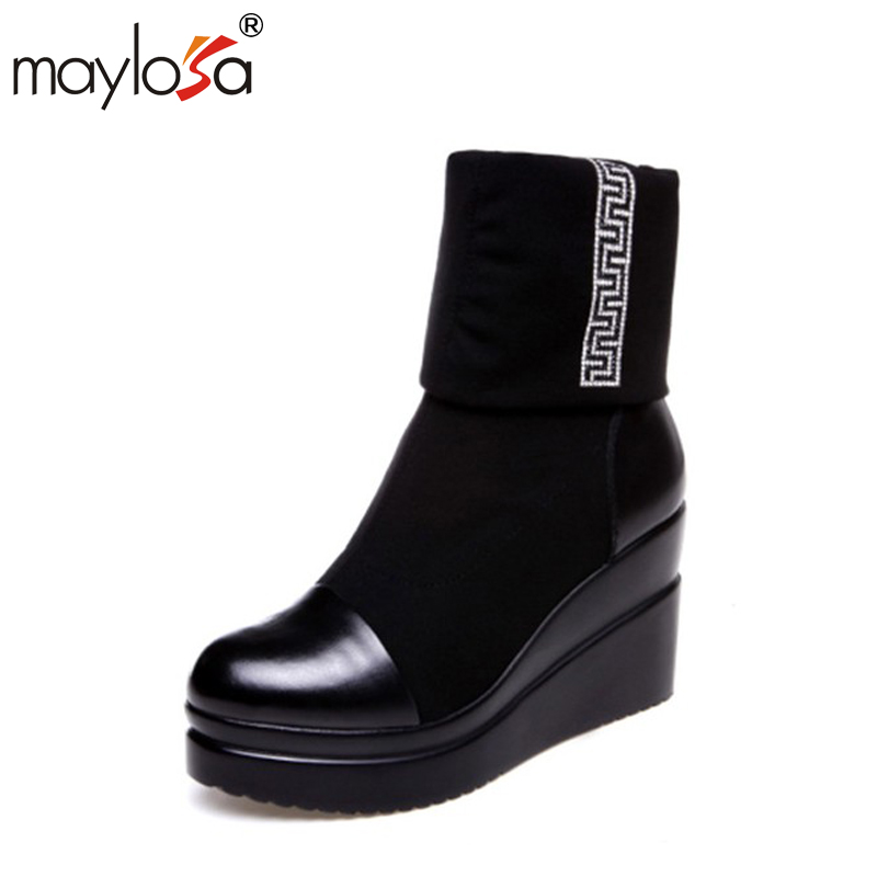 MAYLOSA New Style Winter Women Boots Warm genuine leather Snow Boots ound Toe Mid-Calf Fashion Flats Boots ekoak new 2017 winter boots fashion women boots warm plush mid calf boots ladies platform shoes woman rubber leather snow boots