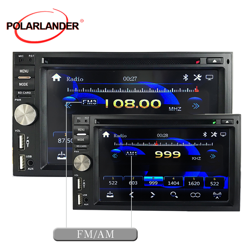 Rétro-éclairage 7 couleurs 6.5 pouces Bluetooth double broche MP3 HD commandes au volant grand écran FM fonction d'avertissement vidéo horloge