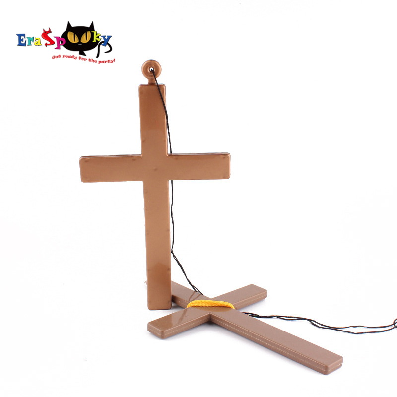 Halloween Props for costume Priest Jesus Cross Necklace Pendant Christian Cross Party Religious Decor Carnival Christmas