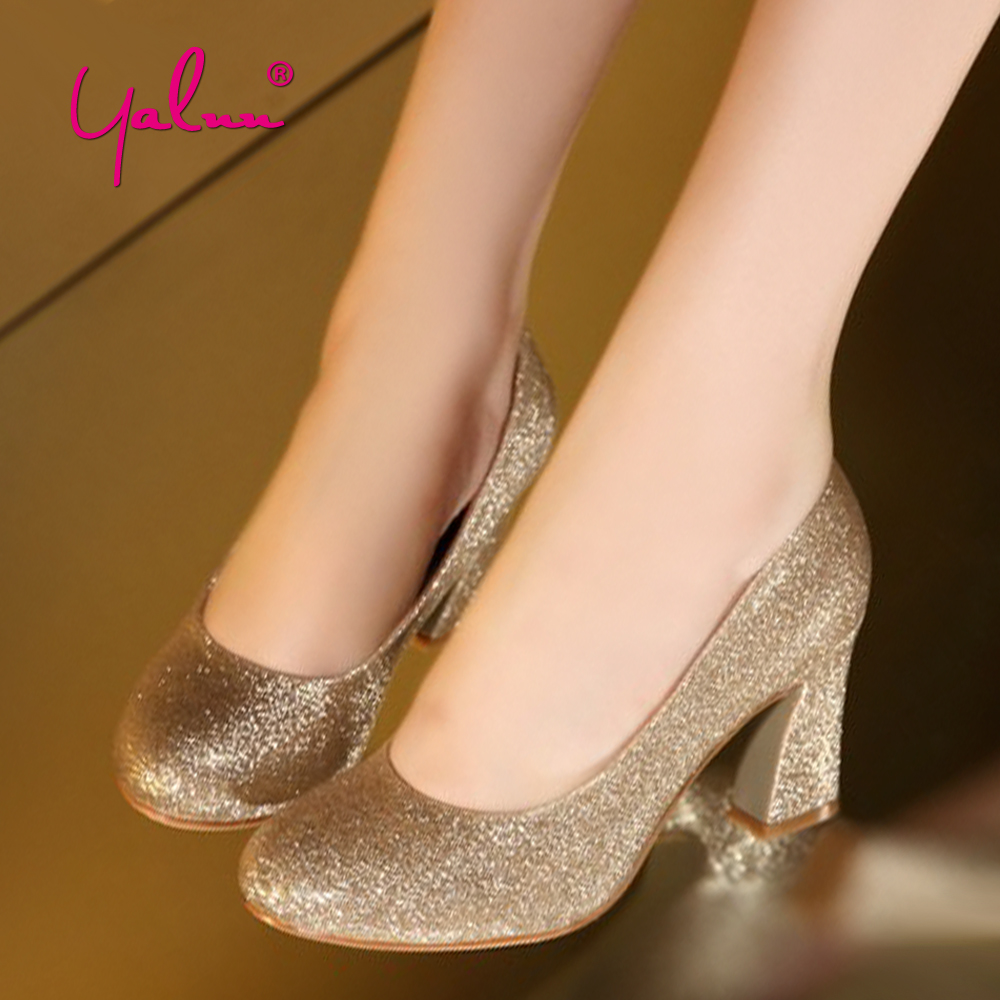 Summer Round Toe Leather Shoes For Women Elegant Bling Slip-on High Hoof Heel Wedding Party Lady Pumps Womens Sequined Shoes New sequined cloth women pumps super high heel sexy shoes pointed toe wedding shoes women pumps slip on elegant party wedding pumps