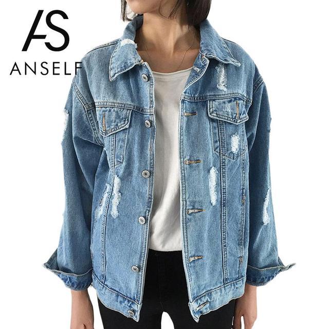 Anself ветер осенью и зимой женщины джинсовая куртка 2017 vintage harajuku завышение свободные женские джинсы пальто твердые тонкий куртки mujer