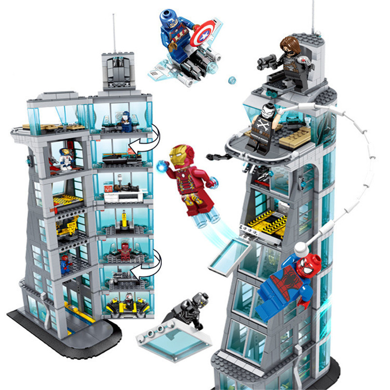 Upgraded Version Block Superheroes Ironman Marvel Avenger Tower Fit Legoing Avengers Gift Building Block Bricks Boy Kid Gift Toy