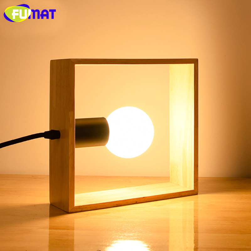 FUMAT Square Table Lamp Wooden Bedroom Bedside Light Nordic Study  Decoration Desk Lamp Modern Warm LED