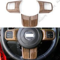 Wooden Grain ABS Car Steering Wheel Cover Trim Sticker Decor For Jeep Patriot Compass Wrangler 2011