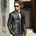 2017 Men Leather Biker Jacket Vintage Black Stand Collar Short Slim Fit Genuine Cowskin Men Winter Motorcycle Coat FREE SHIPPING