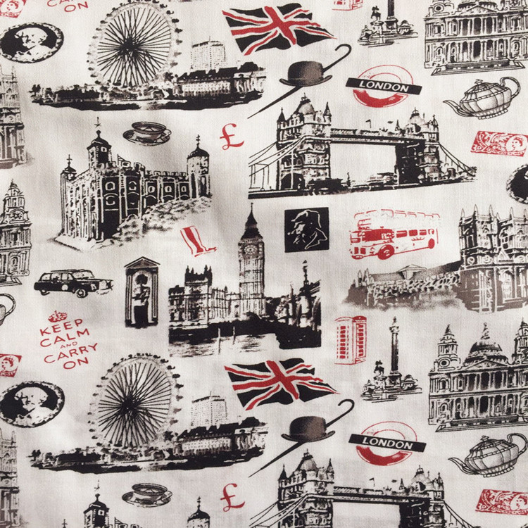 100X140cm Retro London Big Ben Buckingham Palace Cream Background Cotton Fabric for Curtain Table Cloth Cushion Cover DIY-AF503