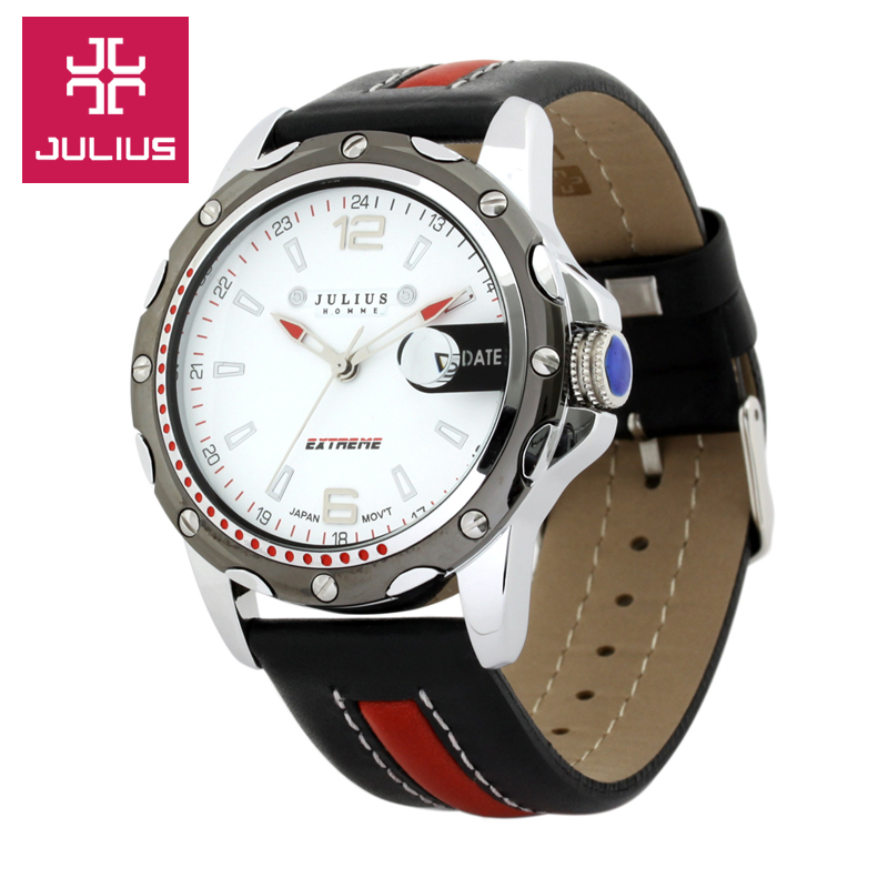 Top Julius Men's Homme Wrist Watch Assorted Colors Fashion Hours Dress Sport Retro Leather Student Boy Birthday Father's Gift
