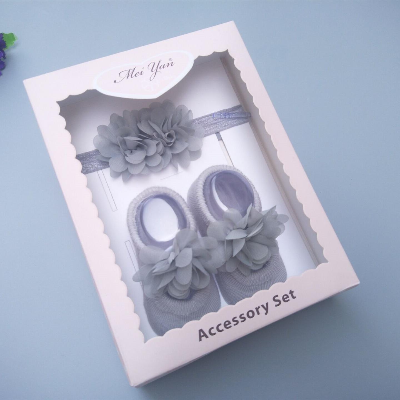 Baby Gift Box, Newborn Flower Socks & Headband, Full Moon Gift, Korean Baby Headpieces And Socks Sets,Kids Hair Accessories