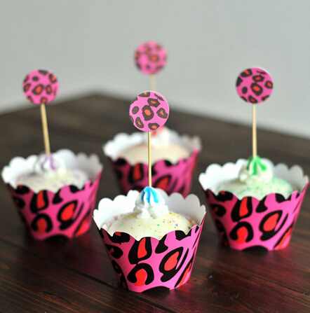 Amazing Free Shipping Pink Leopard Print Paper Baby Shower Decorations, Cupcake  Cake Cup Toppers Picks Wrappers