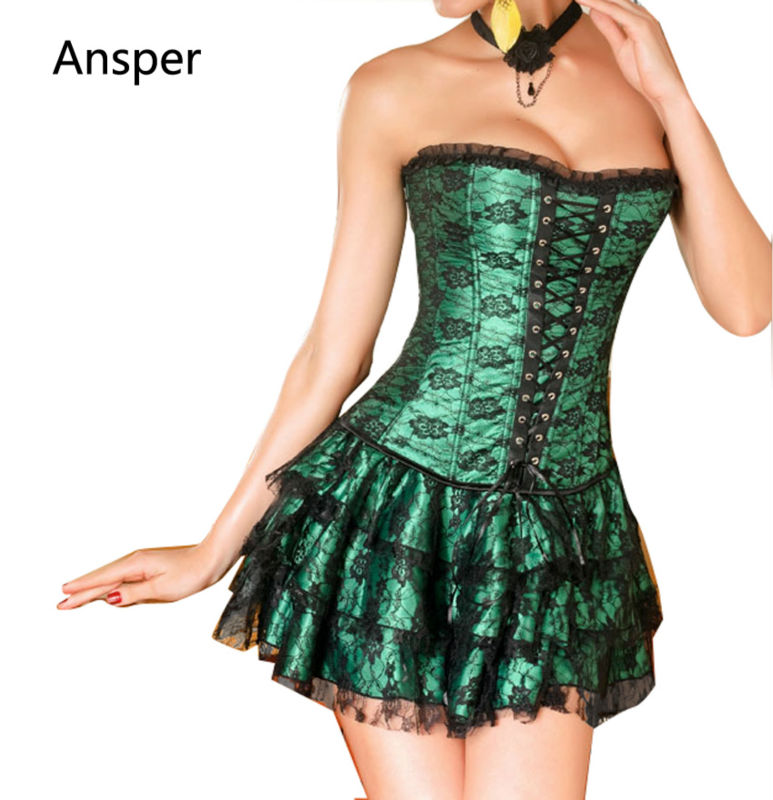 Straitjacket Shapers Green Red Lace Evening Sexy Women sweetheart Corset and Bustier dress Plus Size Push up Gothic corset dress