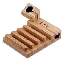 Qosea Bamboo Wood USB Charging Station Desk Stand Charger 3USB Ports For iPhone 6S 7 Plus Apple Watch 2 42mm iPad and Tablet PC
