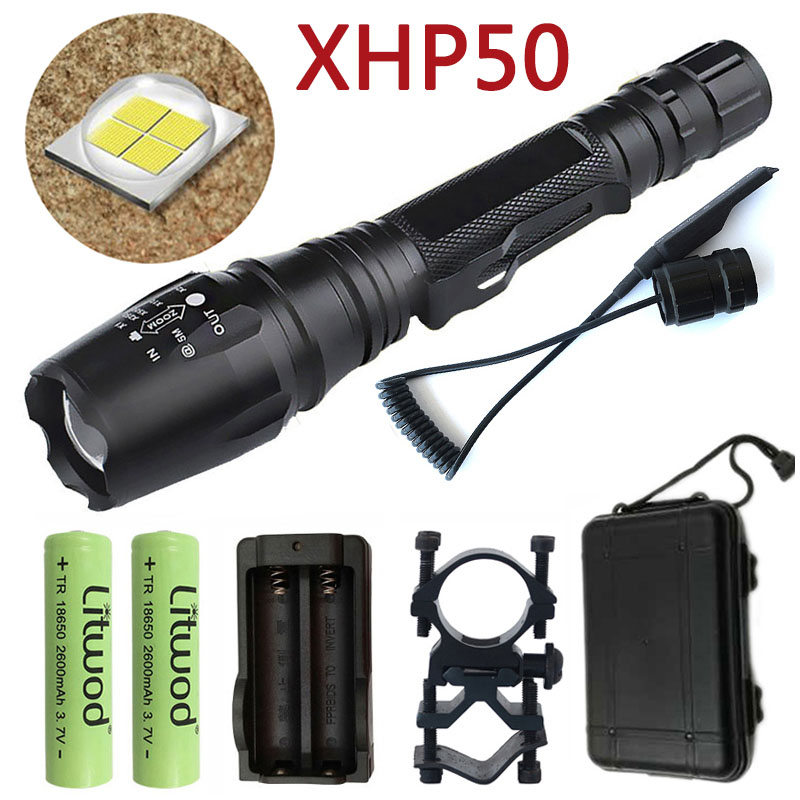 Litwod Z90 Led Flashlight Hunting Tactical Flashlight CREE XHP50 30000LM Riding Torch Powerful Bicycle Lanterna Running 2*18650