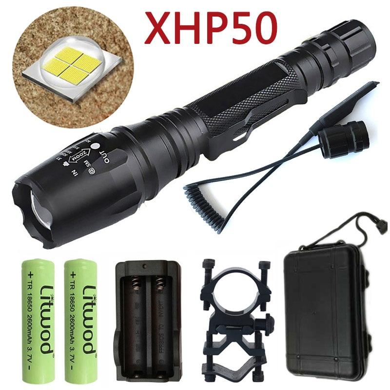 Litwod Z90 Led Flashlight Hunting Tactical Flashlight CREE XHP50 30000LM Riding Torch Powerful Bicycle Lanterna Running 2*18650
