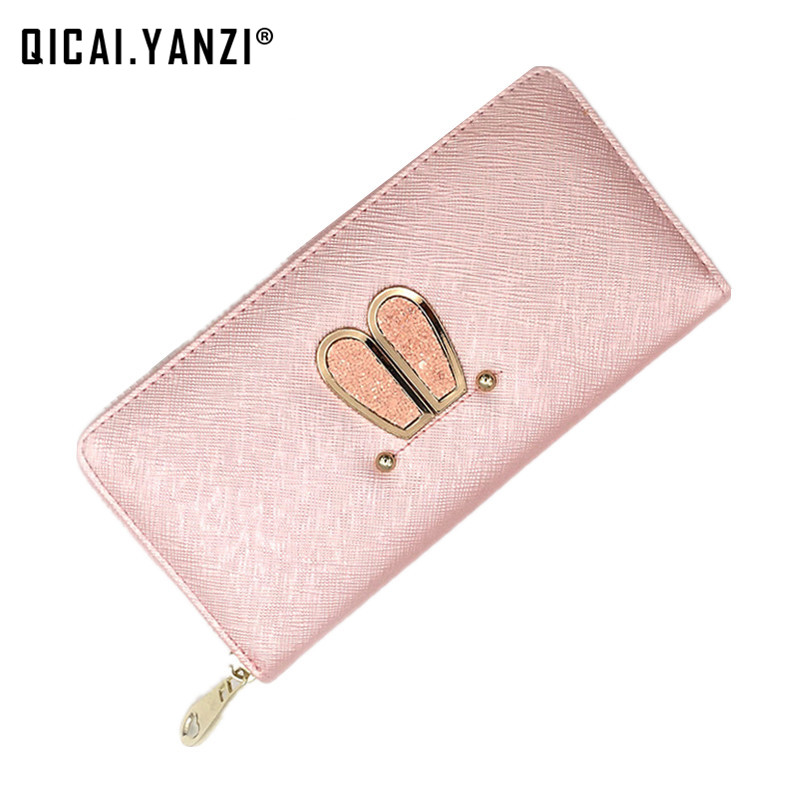 qicaiyanzi 2017 Women Cute Rabbit Ears Long Wallets Lady Clutch PU Zipper Soft Phone/Card Holder Mujer Coin Purse Pocket P363 2017 women lady cute rabbit ears long wallet clutch pu zipper soft card holder purse pocket free shipping high quality p363
