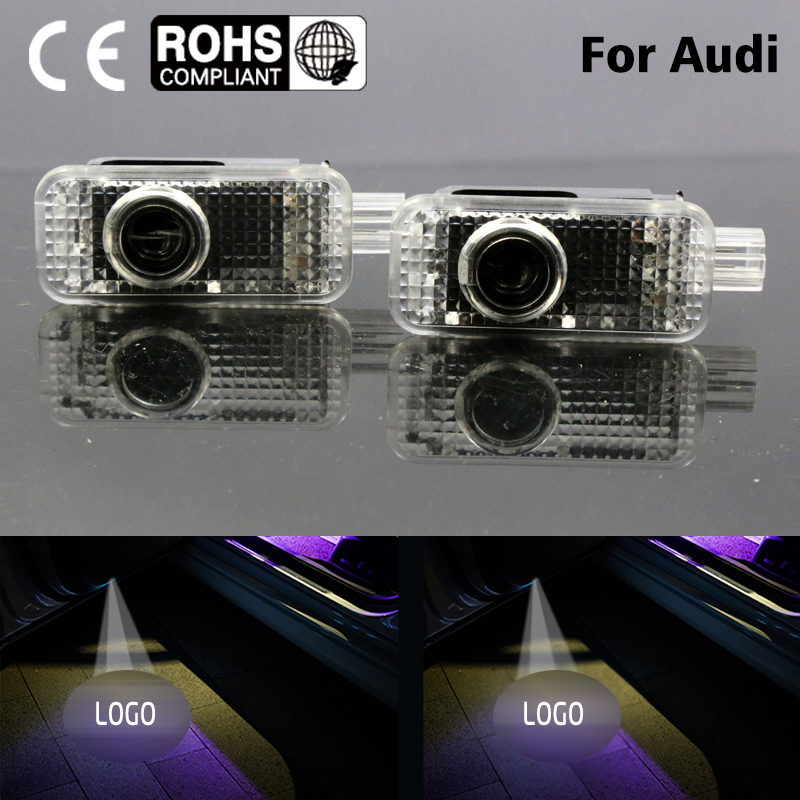 2 LED  Car Door Courtesy  Logo Light Shadow Projector Laser for Audi A8L A7 A6L Q3 A5 A4L A4A6 A1 R8  Q7 Q5 TT A8 (Fits: Audi) 2pcs led logo door courtesy projector shadow light for audi a3 a4 b5 b6 b7 b8 a6 c5 c6 q5 a5 tt q7 a4l 80 a1 a7 r8 a6l q3 a8 a8l