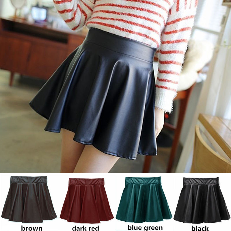PU Leather Women Stretch High Waist Skirts Flared Pleated Mini Skirt Solid Faux Leather Short Skirt