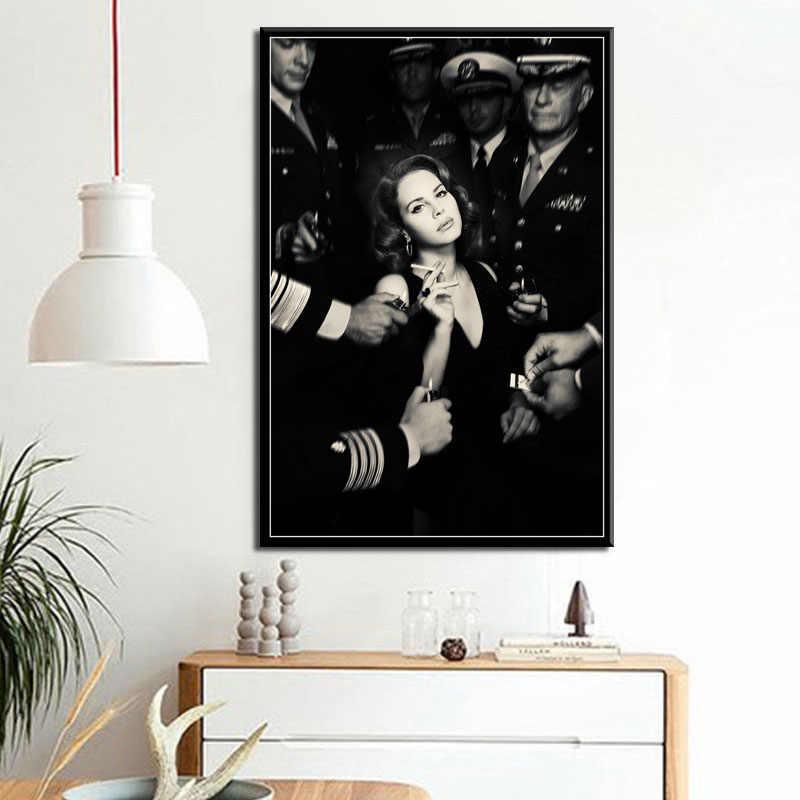 حار لانا ديل ري الروح البوب الموسيقى المغني نموذج نجمة المشارك يطبع الفن لوحة زيتية قماشية جدار صور لغرفة المعيشة المنزل ديكور