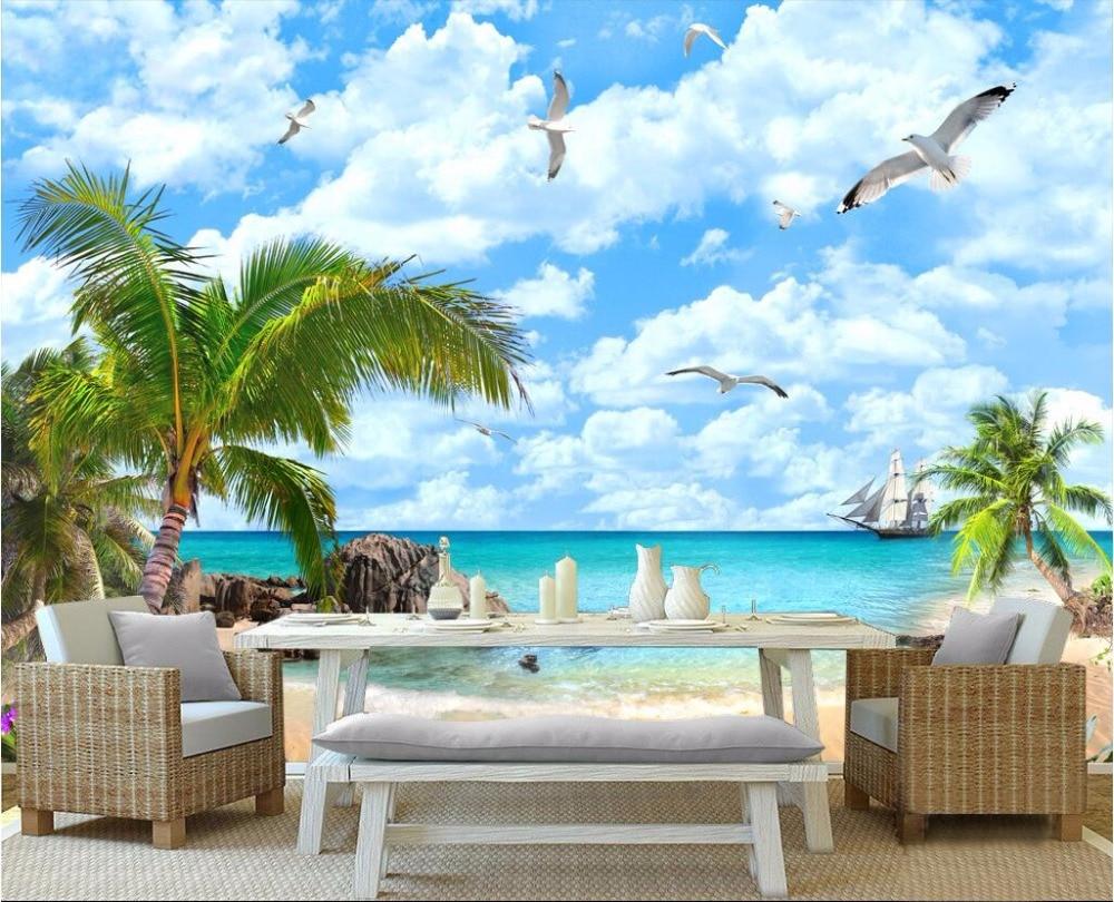 Custom mural 3d wallpaper coconut palm beach seascape for Beach wall mural cheap