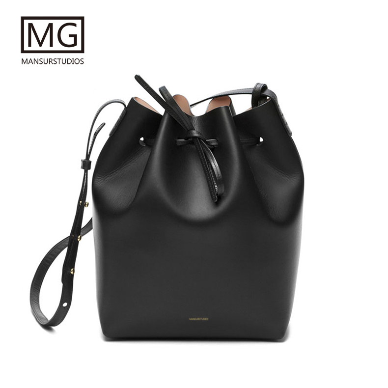 Mansurstudios  Women Real Leather Bucket Bag ,mansur Lady Genuine Leather Shoulder Bags, Gavriel Leather Handbag,free Shipping