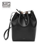 Mansurstudios Women real leather Bucket Bag ,mansur lady genuine leather shoulder Bags, gavriel leather handbag,free shipping