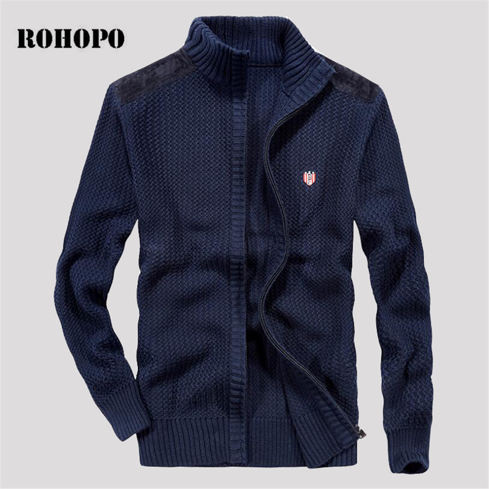 ROHOPO Military Style Autumn Sweater Men,patch Design Shoulder Zipper Fly Knitted Cargo Outwear,man's Quality Army Sweater