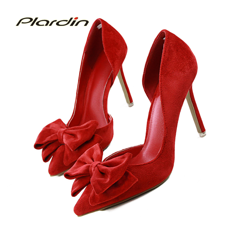 Plardin Woman Sweet Bowtie Pointed Toe Fashion Women Party Wedding ladies shoes Shallow Mouth Side Hollow Women High Heel Shoes 2017 shoes woman fashion sweet bowtie pointed toe sexy women party shallow mouth side hollow women thin high heel shoes