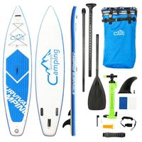 KS SP1009 12' Adult Inflatable SUP Stand Up Paddle Board White & Blue Surf Control, Surf Control, Non Slip Deck Carry Bag