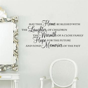 Home blessed with laughter warmth hope memories Wall Stickers Vinyl Removable Mural Decal Art Bedroom decor poster 1