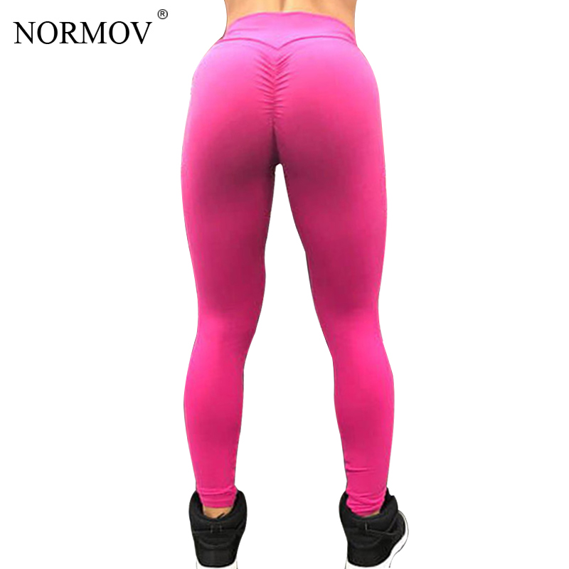 NORMOV Solid High Waist   Leggings   Women Sexy Push Up Pants Fitness Clothing Breathable Candy Colors Classic Trousers Female