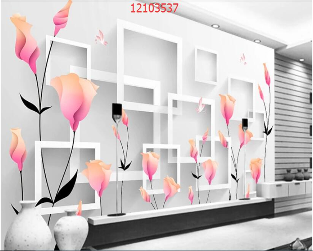 Купить с кэшбэком beibehang Custom size Fashion Creative 3D Stereo Jewelry Flower Dandelion Black and White Circle TV Background Wall wallpaper