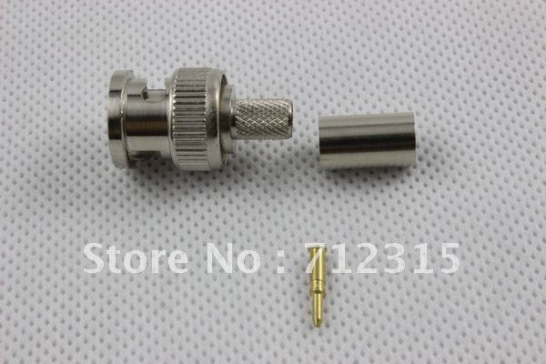 цена на MISECU 50pcs BNC connector Crimp Coaxial Connector 3-Piece for RG59 BNC Cable