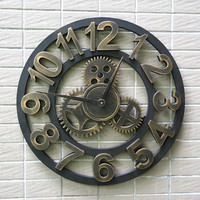 45cm Creative Handmade 3D Retro Rustic Decorative Luxury Art Large Wooden Vintage Gear Wall Clock