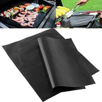 Reusable Portable Non-Stick BBQ Grill Mat/Cooking Clamp Heat Resistance Outdoor Picnic Kitchen Tool hot sale image