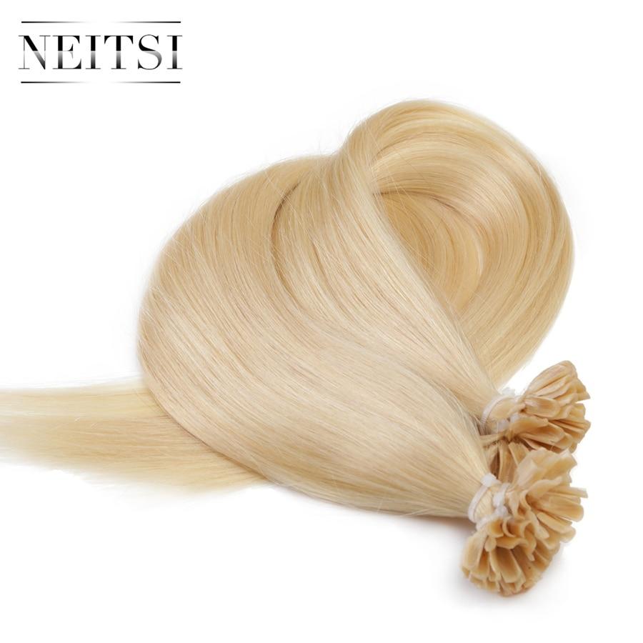 Neitsi Straight Keratin Human Fusion Hair Nail U Tip Machine Made Remy Pre Bonded Hair Extension
