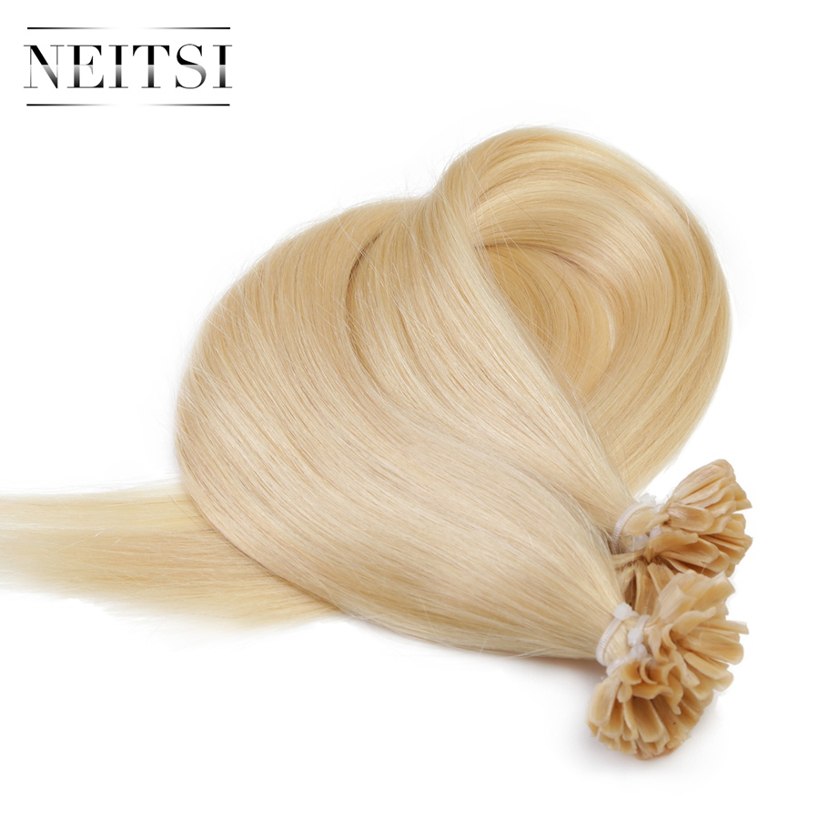Neitsi Straight Keratin Human Fusion Hair Nail U Tip Machine Made Remy Pre Bonded Hair Extension 16