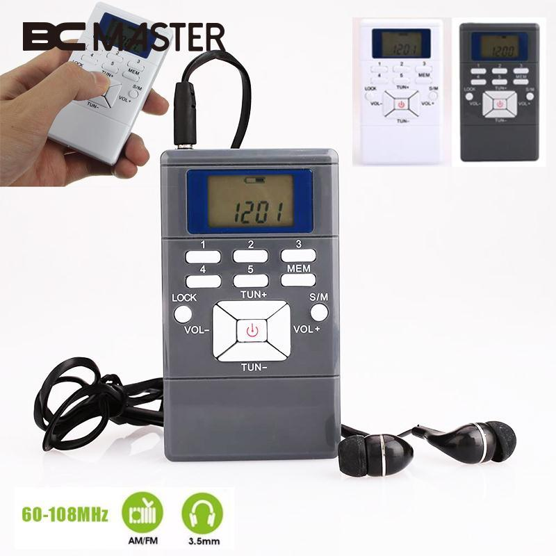 BCMaster Mini Portable Radio Pocket Personal Digital Display Battery Powered FM Radio Receiver free with Earphone