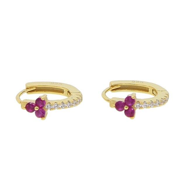 luxury pink cz flower earring hoops delicate women earring minimalist gold color cz thin earring in real 925 sterling silver