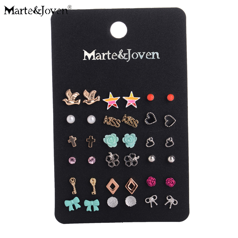 Accesorios de moda al por mayor Cheap Stud Earring Sets 18 pares / paquete Mixed Bird Stars Cross Flower Love Heart Gift para mujeres