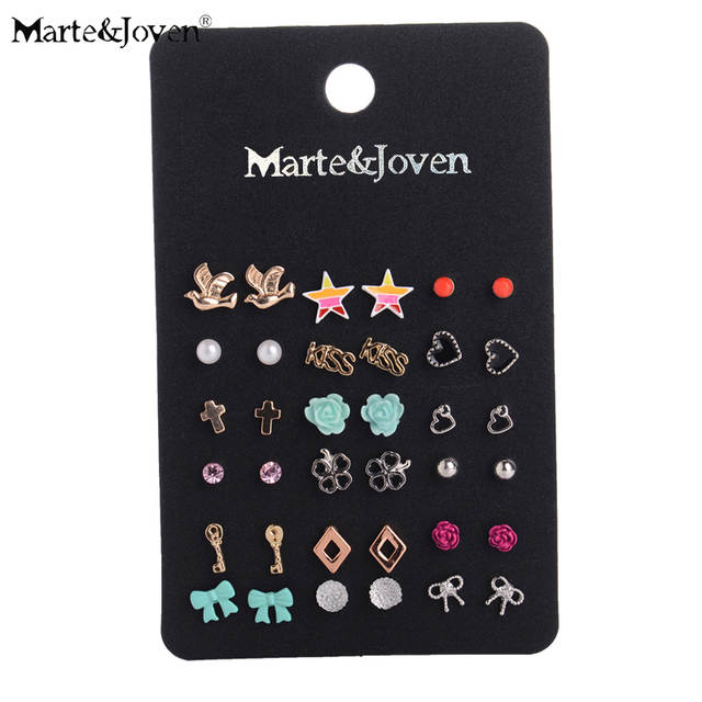 a6838893bc Wholesale Fashion Accessories Cheap Stud Earring Sets 18 Pairs/pack Mixed  Bird Stars Cross Flower Love Heart Gift For Women