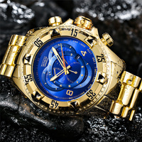 Temeite Golden Luxury Brand Men Watches Fashion Blue Face Waterproof Stainless Steel Watch Big Size Male Quartz Clock Wristwatch