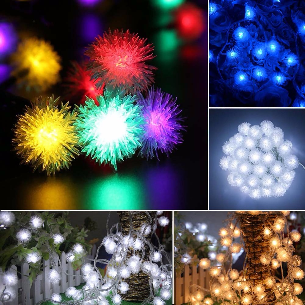 10M 60leds USB LED Snow Ball String Light Holiday Decoration Light For Valentine's Day Christmas Tree Holidays Party Wedding